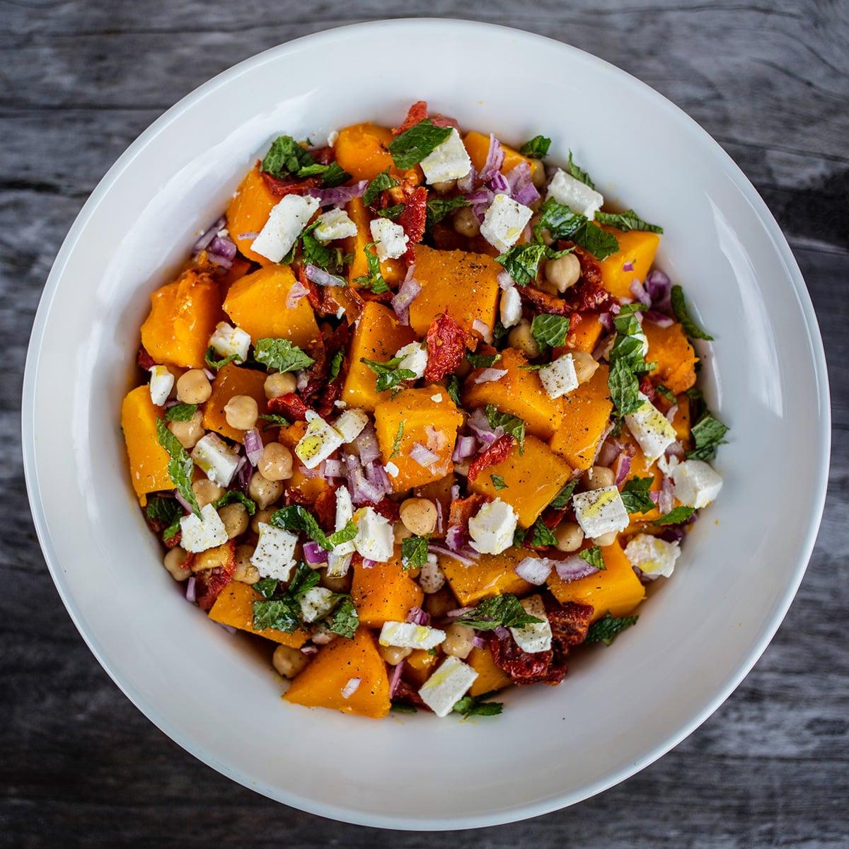 Roasted Pumpkin, Chickpea and Sundried Tomato Salad with Goats Feta